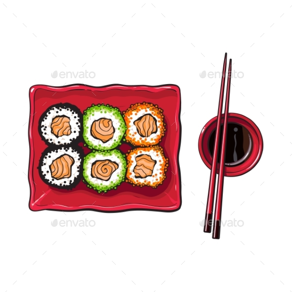 Plate of Japanese Sushi - Food Objects