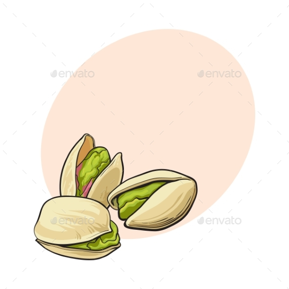 Group of Pistachio Nuts - Food Objects