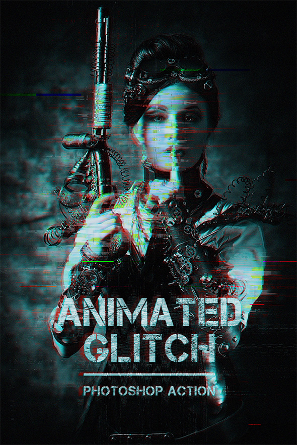 Animated Glitch - Photoshop Action - Photo Effects Actions