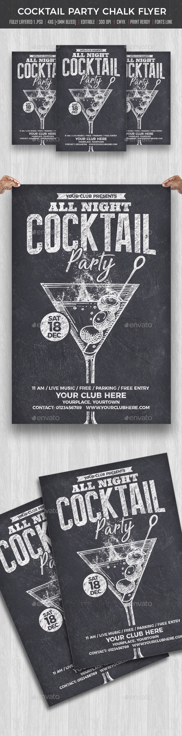 Cocktail Party Chalk flyer - Clubs & Parties Events
