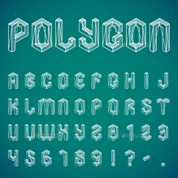 Polygon Alphabet and Numbers - Decorative Symbols Decorative