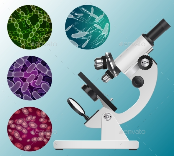 Microscope and a Set of Images - Health/Medicine Conceptual