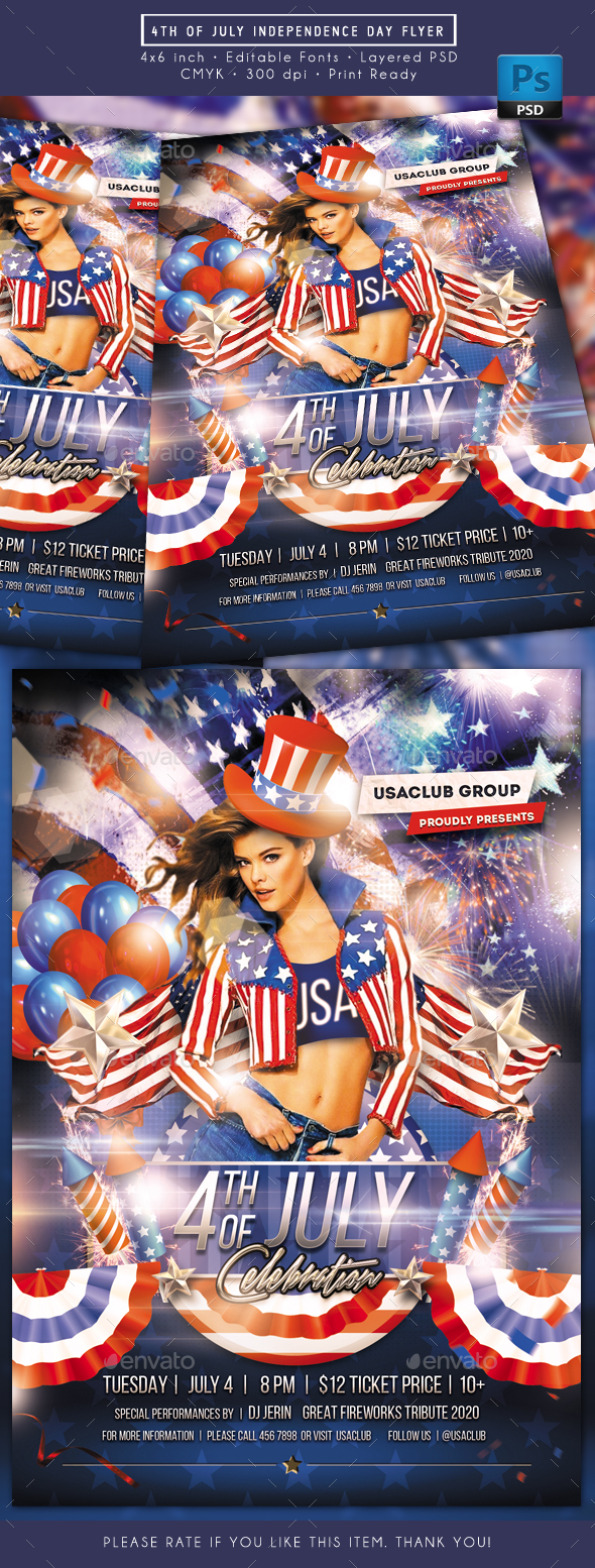 4th of July Independence Day Flyer - Holidays Events