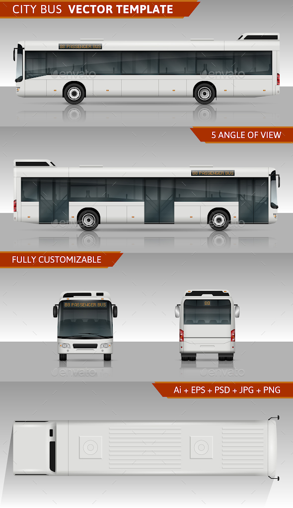 City Bus Vector Template - Man-made Objects Objects