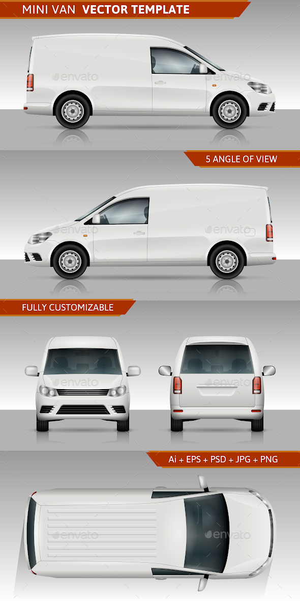 Mini Van Vector Template - Man-made Objects Objects