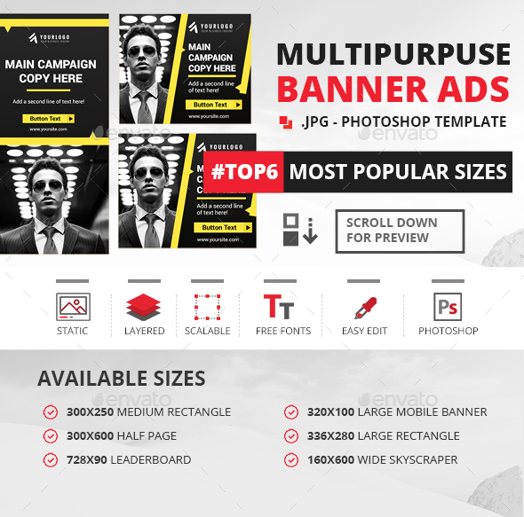 Corporate Web Banner Template - Banners & Ads Web Elements