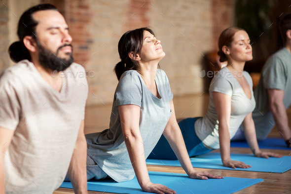 group of people doing yoga dog pose at studio - Stock Photo - Images