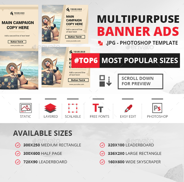Multipurpose Web Banner Ads - Banners & Ads Web Elements