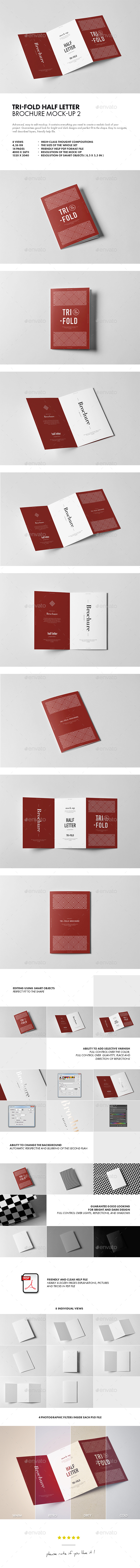 TriFold Half Letter Brochure MockUp  By Yogurt  Graphicriver