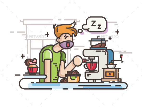 Sleepy Guy Making Coffee - People Characters