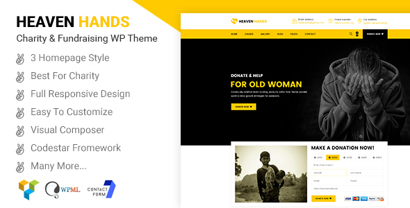 Heaven Hands- Responsive Charity & Fundraising WordPress Theme - Charity Nonprofit