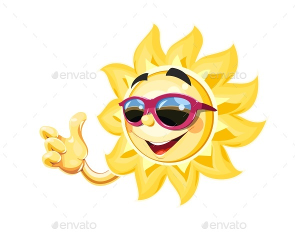 Smiling Sun in Sunglasses Show Okay - Miscellaneous Characters