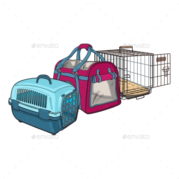 Three Type of Pet Carriers - Animals Characters