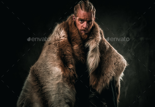 Viking konung in a traditional warrior clothes - Stock Photo - Images