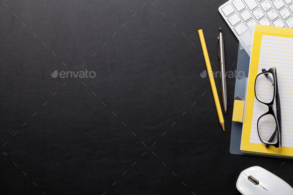 Office desk with computer and supplies - Stock Photo - Images