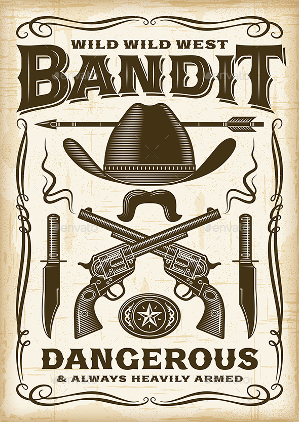 Vintage Wild West Bandit Poster - Backgrounds Decorative
