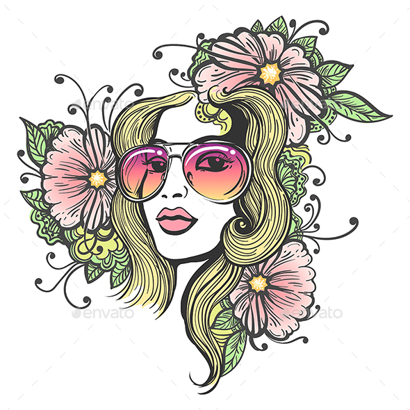 Hand Drawn Girl Face with Flowers - People Characters