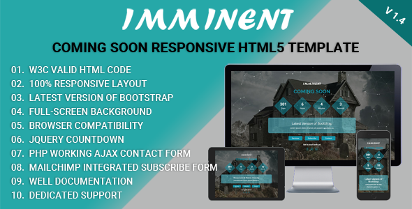 Imminent - Coming Soon Responsive HTML5 Template - Under Construction Specialty Pages