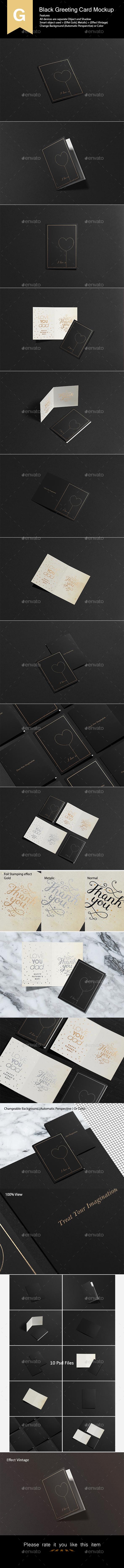 Black Greeting Card Mock-Up