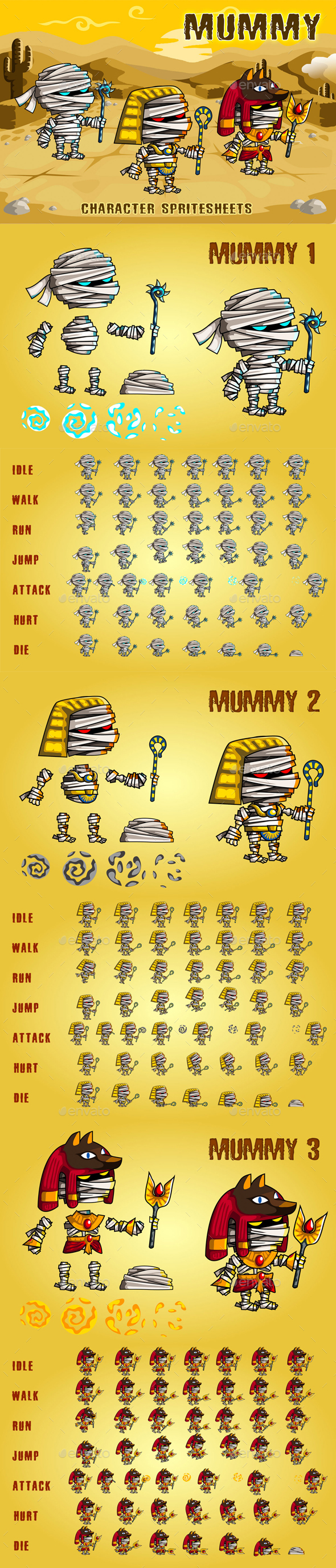 Mummies 2D Game Character Sprite Sheet - Sprites Game Assets