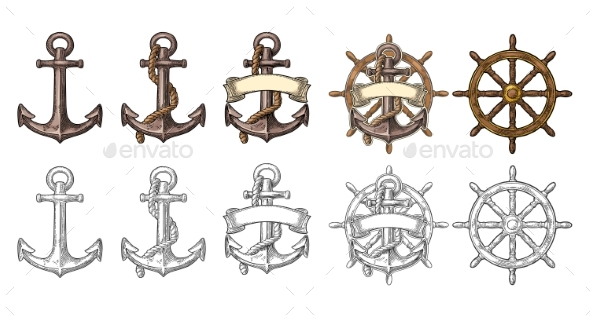 Anchor and Wheel with Ribbon Isolated on Beige - Buildings Objects