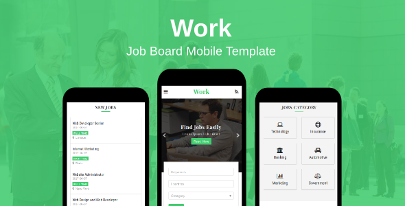 Work - Job Board Mobile Template - Mobile Site Templates