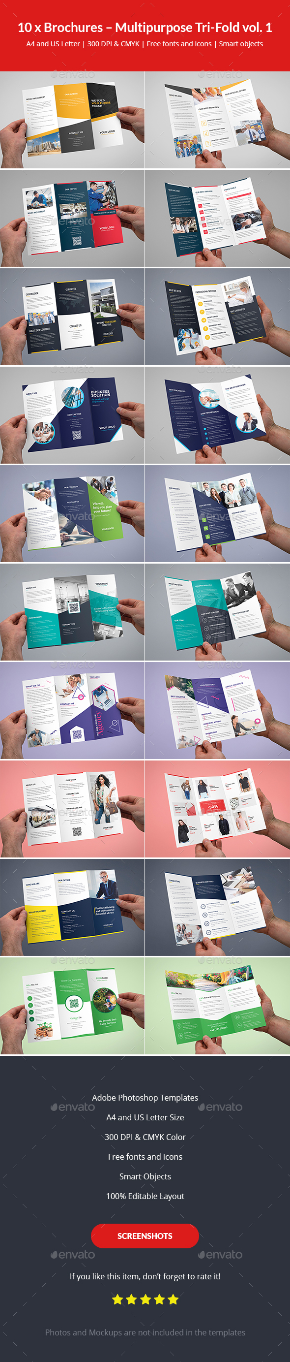 Brochures – Multipurpose Tri-Fold Bundle vol. 1 - Corporate Brochures