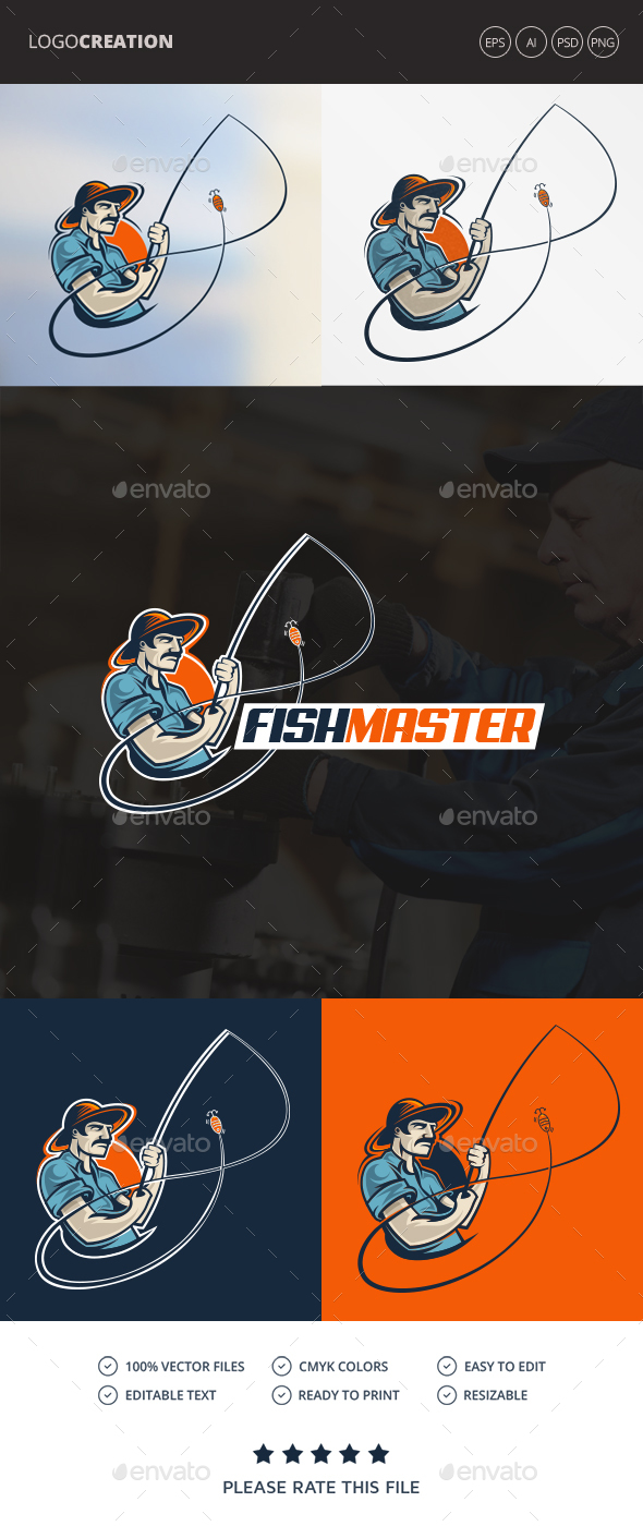 Fisherman / Fishing Logo - Humans Logo Templates