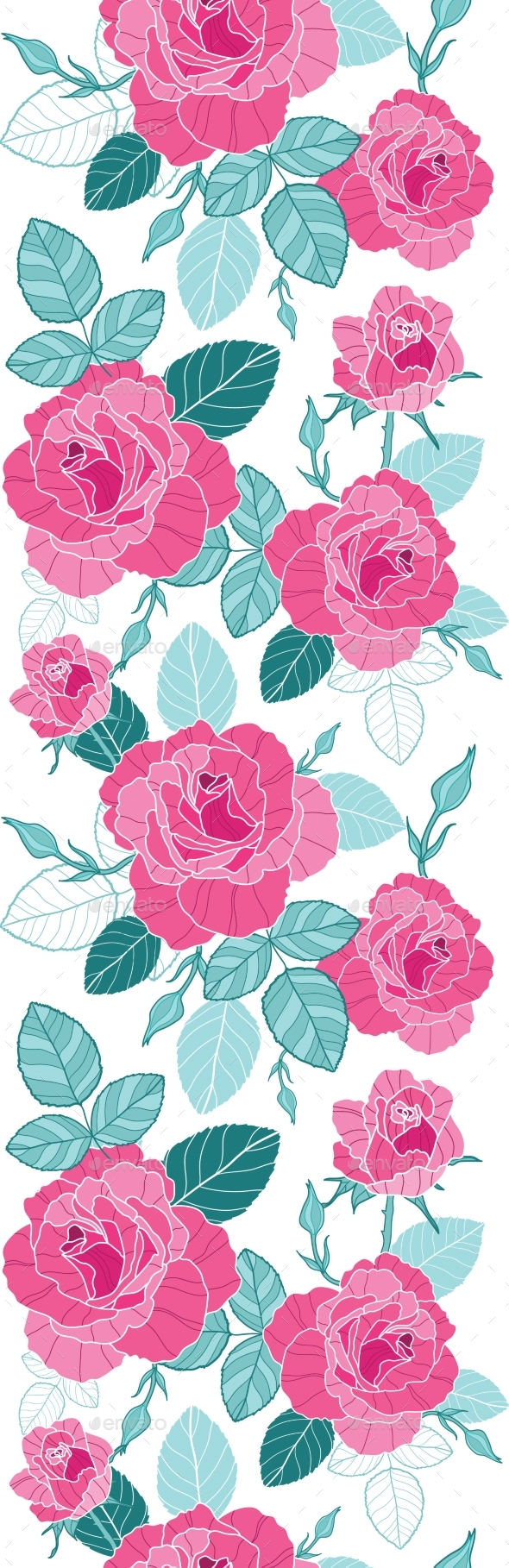 Vector Vintage Pink Roses and Blue Leaves on White - Flowers & Plants Nature