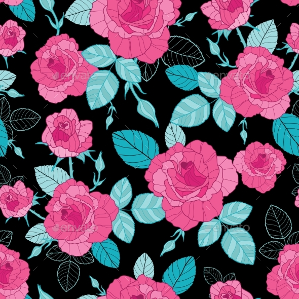Vector Vintage Pink Roses and Blue Leaves on Black - Flowers & Plants Nature