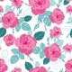 Vector Vintage Pink Roses and Blue Leaves on White - GraphicRiver Item for Sale