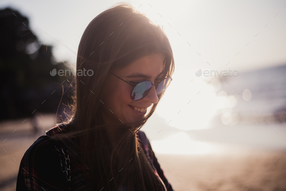 portrait of a beautiful stylish hipster girl close-up - Stock Photo - Images