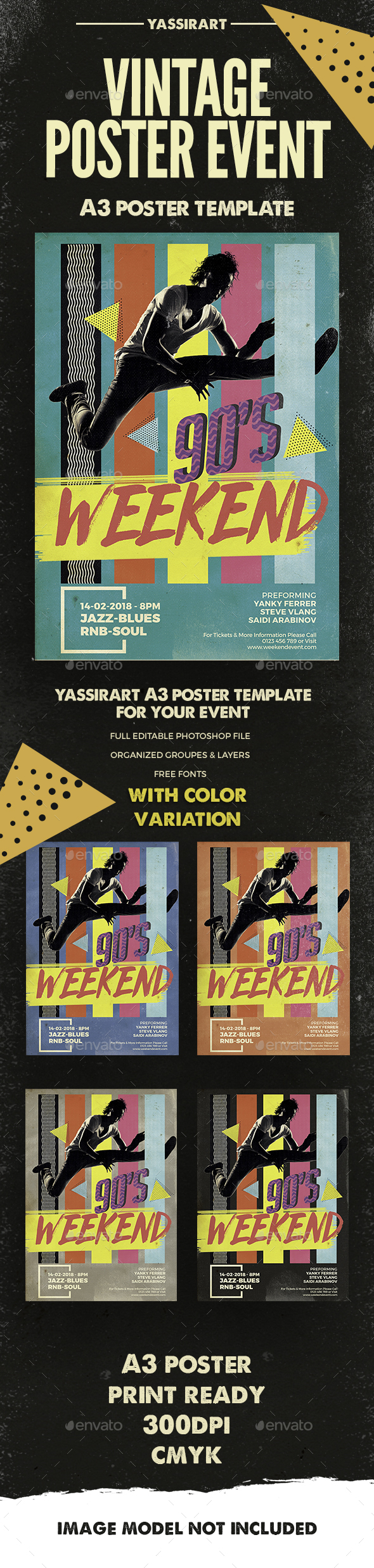 Weekend Vintage Music Poster A3 - Clubs & Parties Events