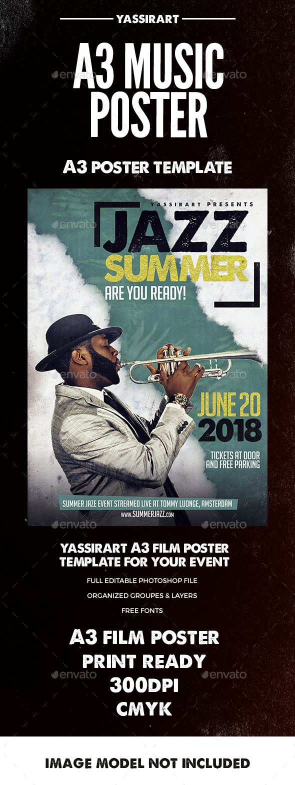 Jazz Summer Poster A3 - Clubs & Parties Events