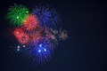Beautiful blue green red celebration fireworks copy space - PhotoDune Item for Sale