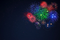 Blue green red fireworks located right side - PhotoDune Item for Sale