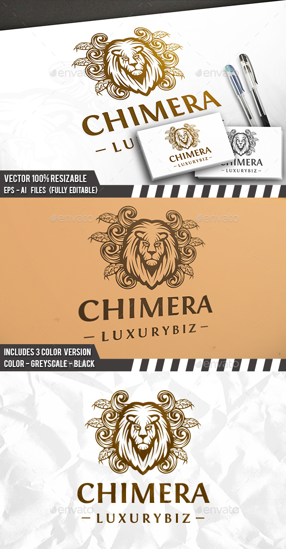 Chimera Lion Head Logo - Sports Logo Templates