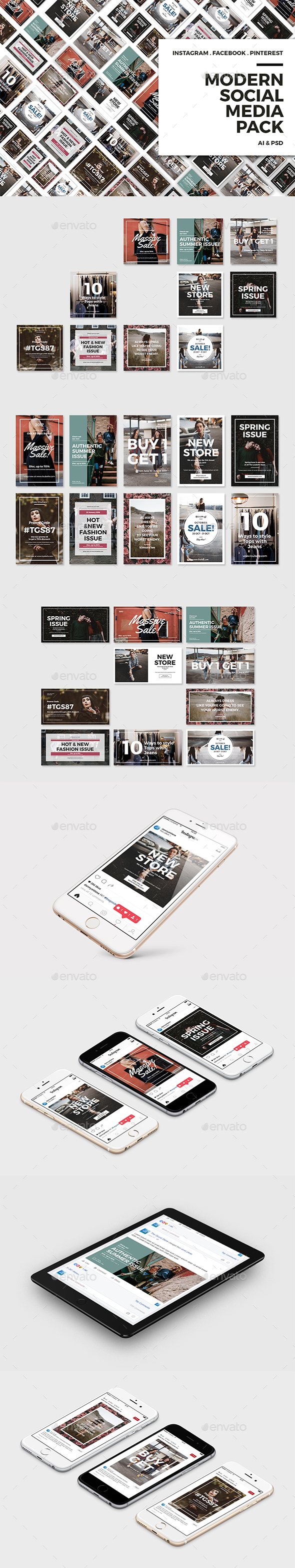 Modern Social Media Pack - Social Media Web Elements