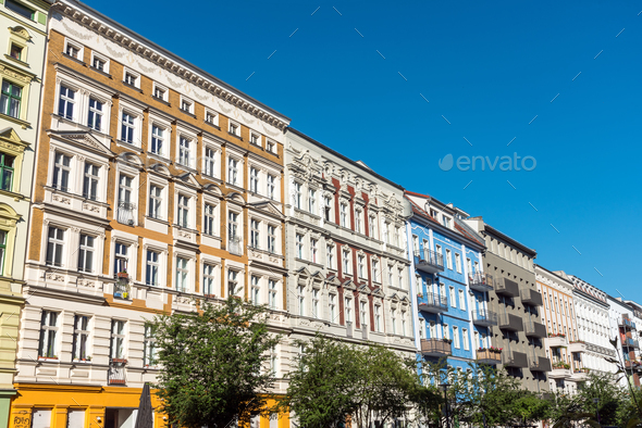 Renovated old apartment buildings on Berlin - Stock Photo - Images