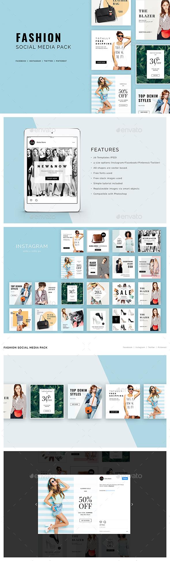 Fashion Social Media Pack - Social Media Web Elements