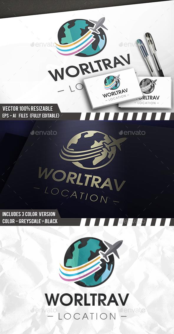 Travel World Plane Logo - Objects Logo Templates