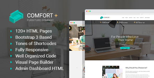 Download Comfort+ - Furniture/Interior Design HTML Template with Builder and Admin HTML