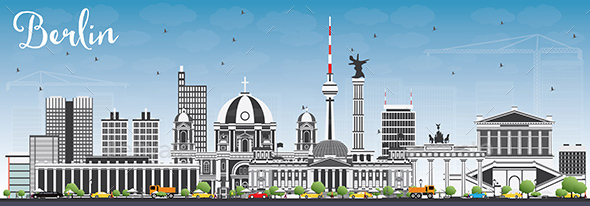 Berlin Skyline with Gray Buildings and Blue Sky. - Buildings Objects
