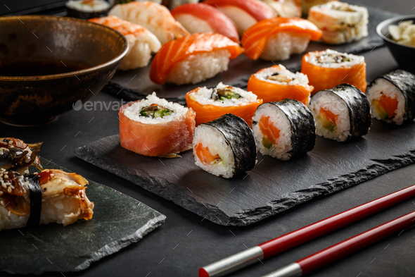 Various kinds of sushi - Stock Photo - Images