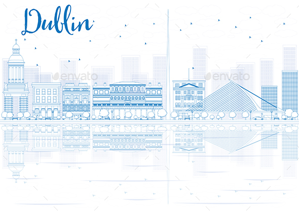 Outline Dublin Skyline with Blue Buildings and Reflections. - Buildings Objects