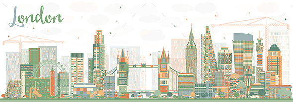 Abstract London Skyline with Color Buildings. - Buildings Objects