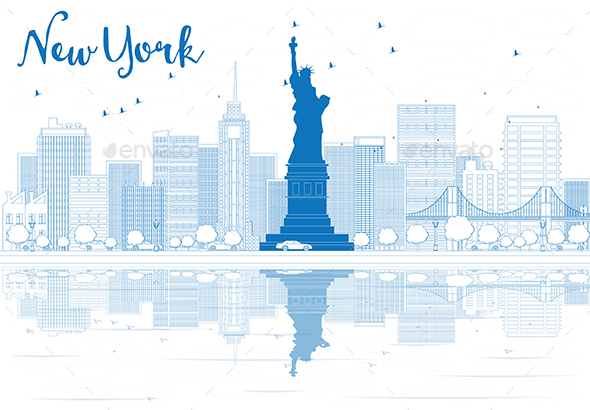 Outline New York City Skyline with Blue Buildings. - Buildings Objects