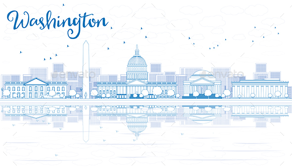 Outline Washington DC City Skyline with Blue Buildings and Reflections. - Buildings Objects