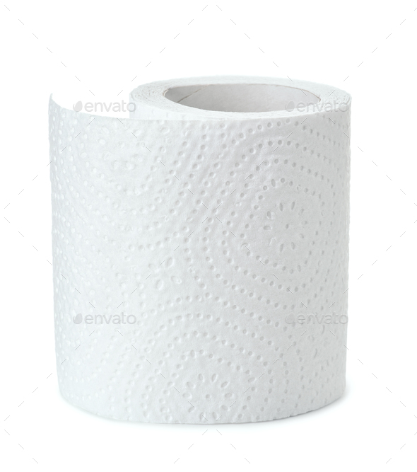 Half of white toilet paper roll - Stock Photo - Images