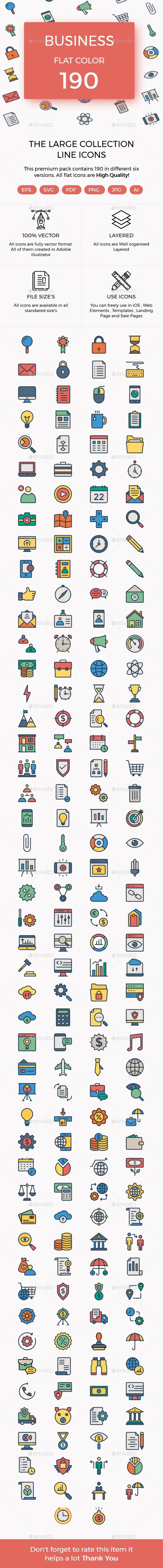 Business Color Line Icons - Business Icons